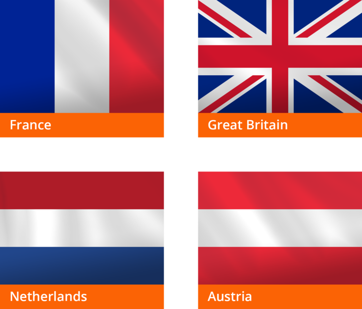 Flags: France, Great Britain, Netherlands, Austria